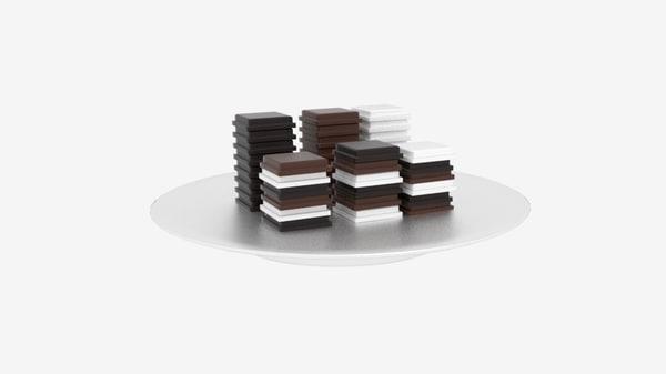 chocolate block stack 3d model