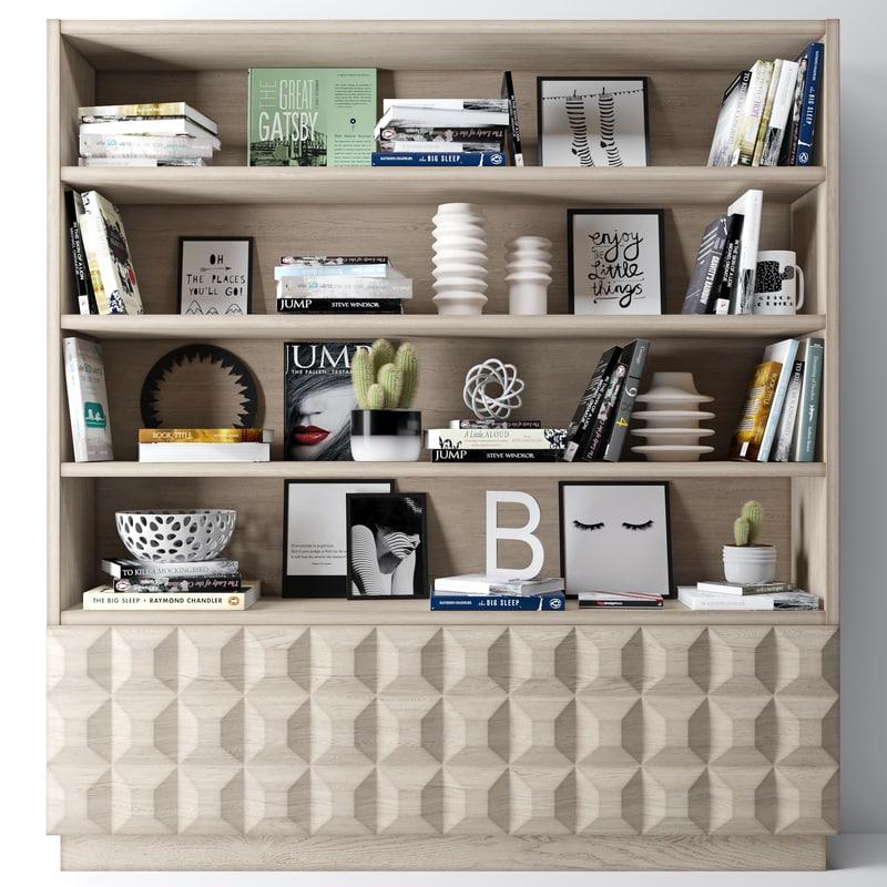 bookshelf decoration 3d max