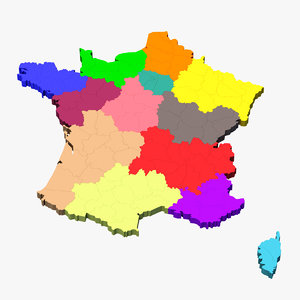 3d model france regions departments