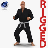 karate fighter black suit 3d model
