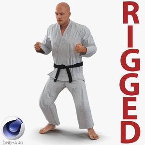 3d karate fighter rigged model