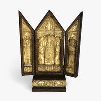 WOOD AND IVORY RELIGIOUS TRIPTYCH