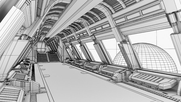 spaceship corridor 2 3d model