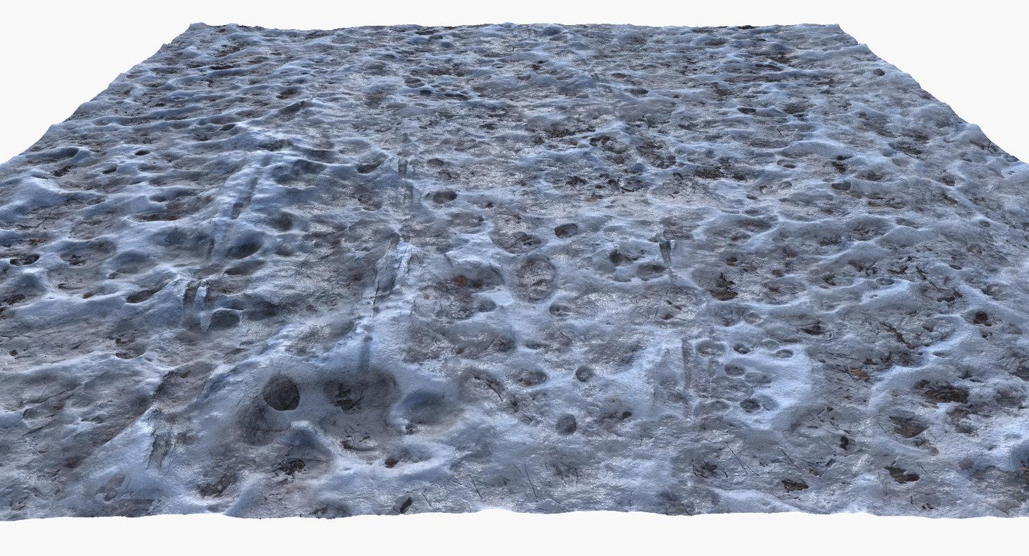 3d model frozen winter ground surface