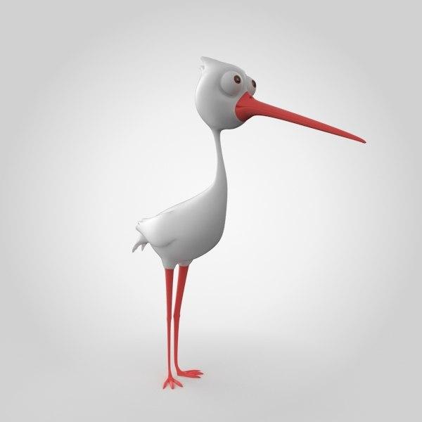 3d bird stork