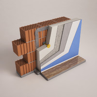 3d cross section wall insulation model