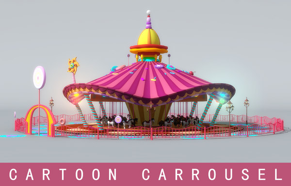 3d model cartoon carrousel