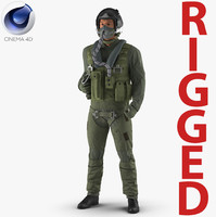 US Military Jet Fighter Pilot Rigged for Cinema 4D