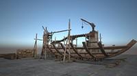 japanese ancient architecture shipyard 3d max