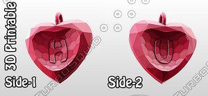 3d 3d-printable valentine crystal-heart-twoletters pendant