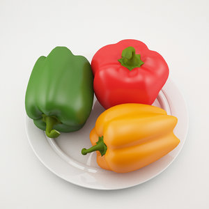 3d model realistic peppers plate