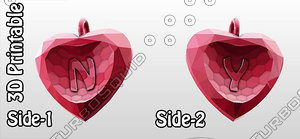 3d model heart valentine pendant