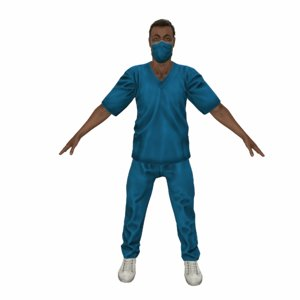 3d ready medical surgeon character rigged
