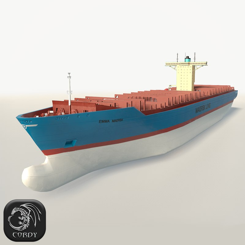 hd container ship emma 3d model