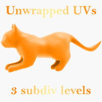 cat unwrapped uvs 3d model