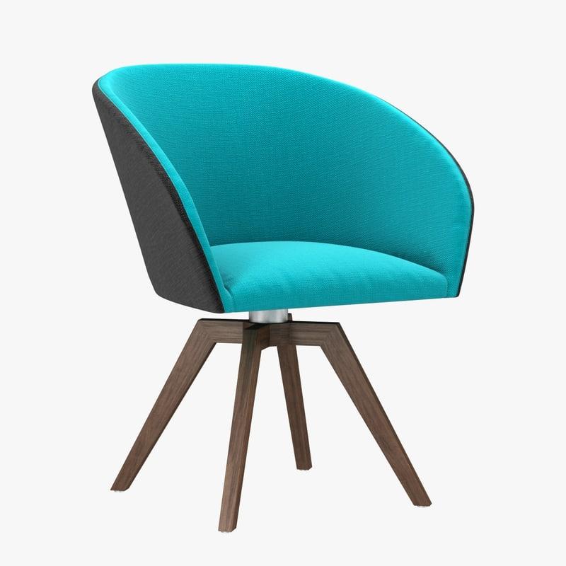 3d chair wander dining blue