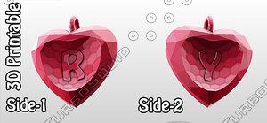3d-printable valentine crystal-heart-twoletters pendant 3d model