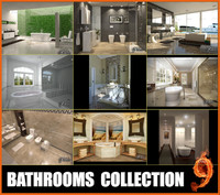 3d model 9 bathrooms