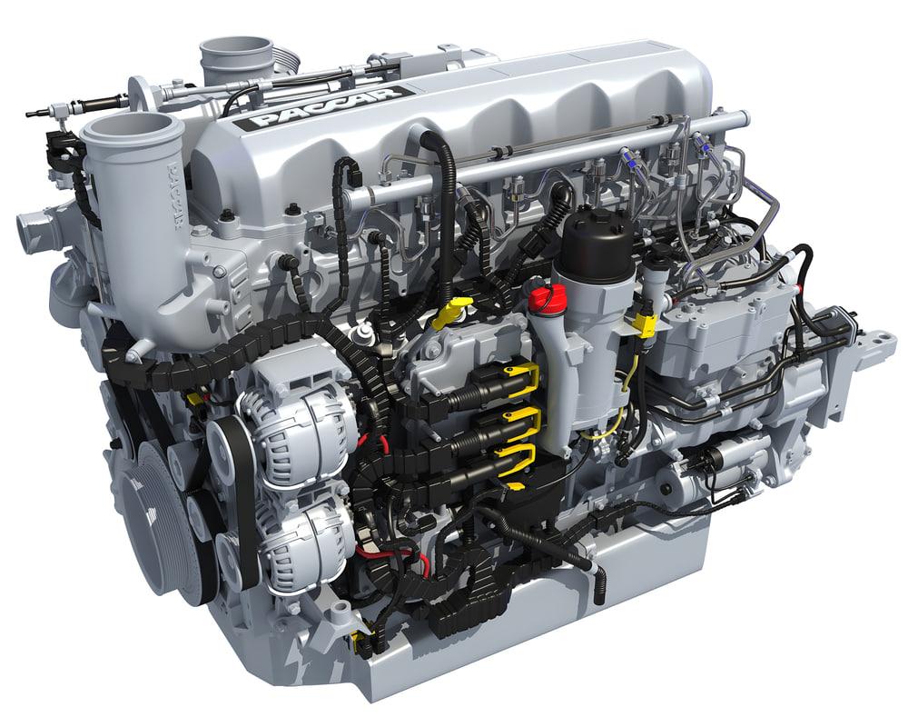 3d paccar mx-13 powertrain diesel engine