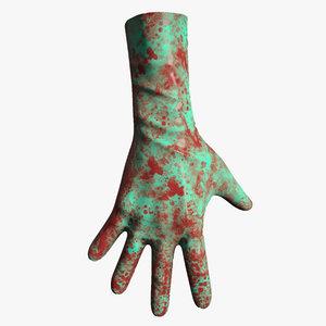 bloody gloves 3d model