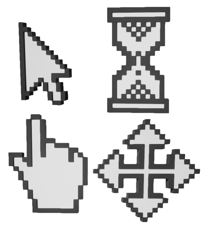 3d model of arrow cursor