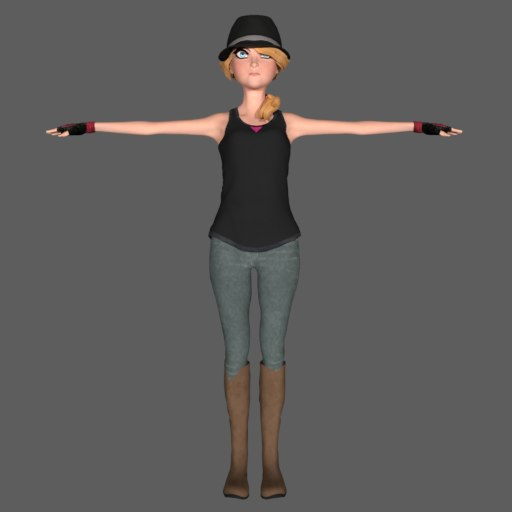 3d model runner girl