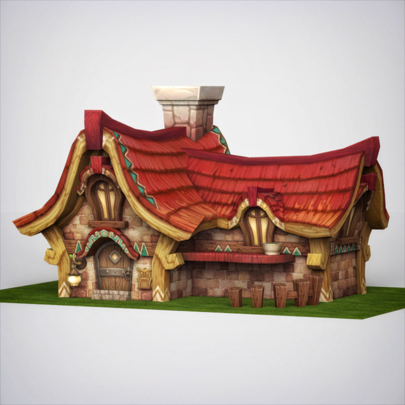 fantasy sweet wooden house 3d model