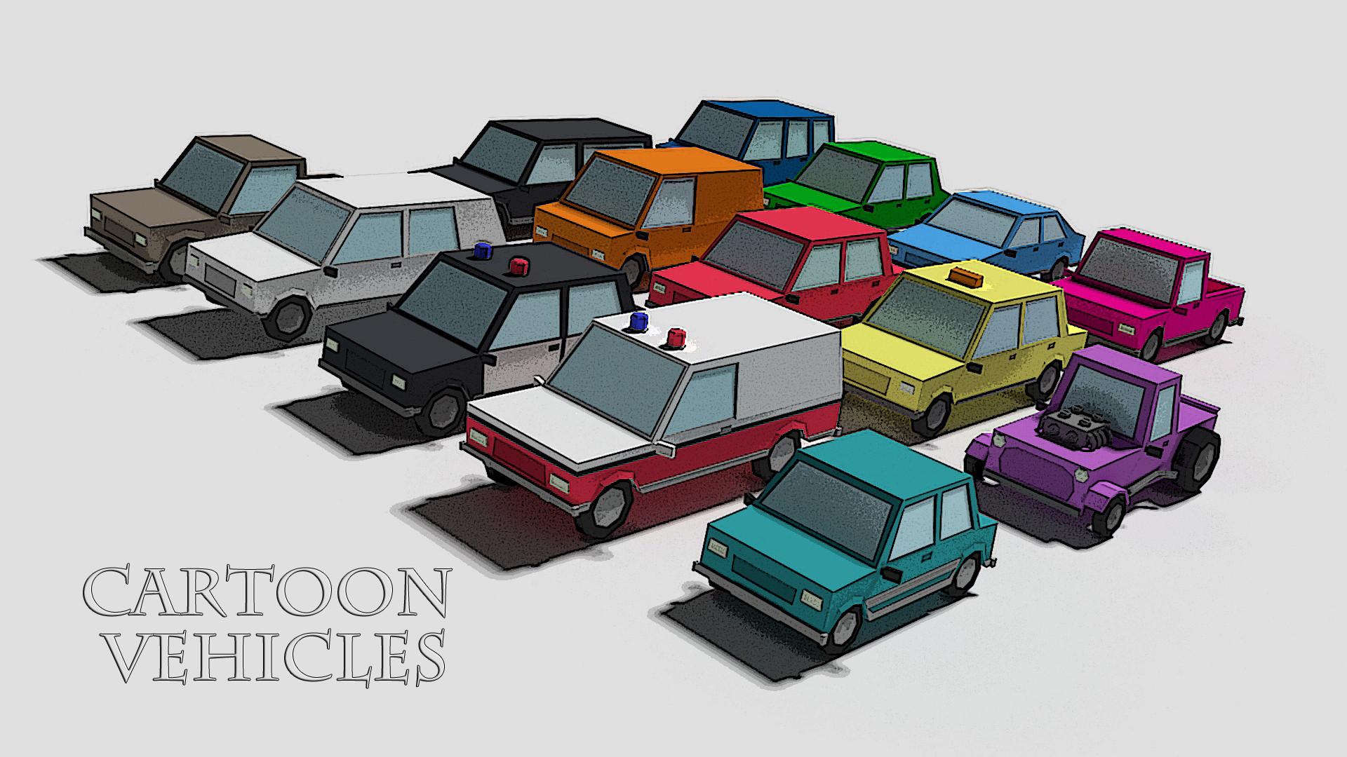 3d cartoon cars vehicle