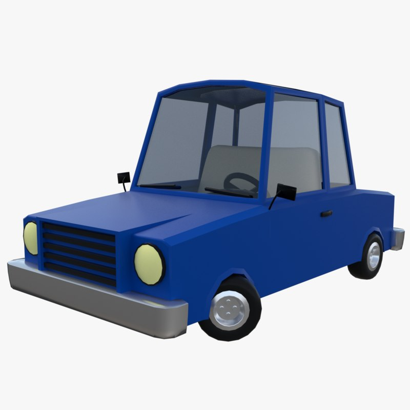 cartoon car rigged 3d obj