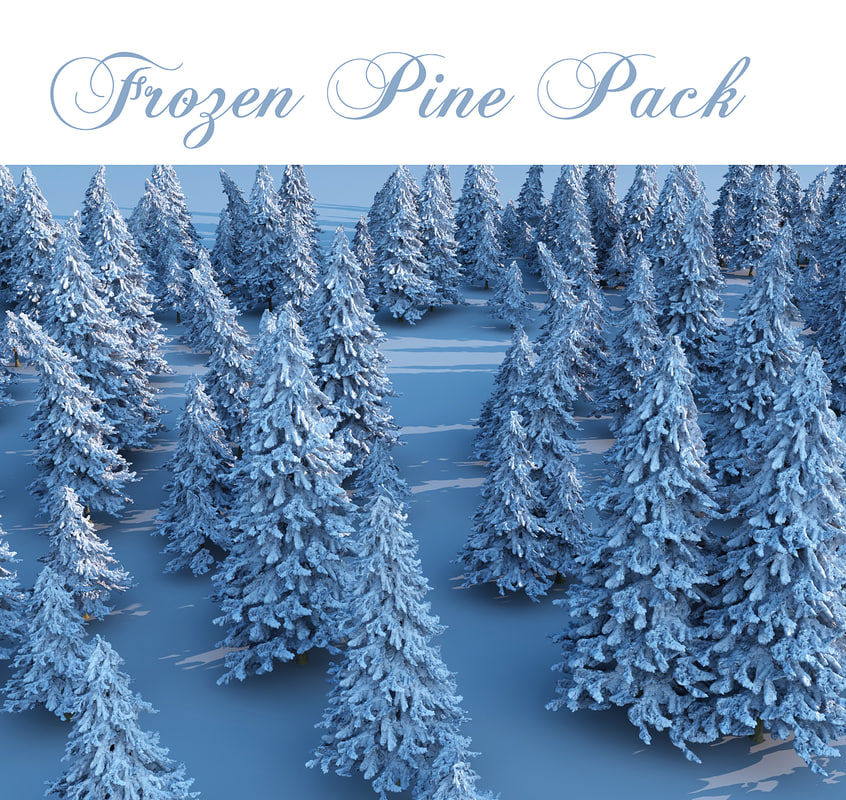 3d model frozen pine pack