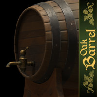 3d model oak barrel