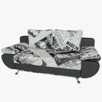 sofa bed riviera leather 3d model