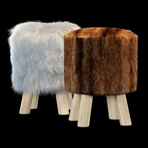 3d faux fur stool model