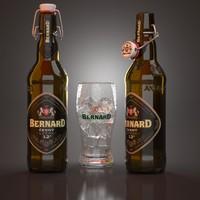 3d bernard cerny beer bottles