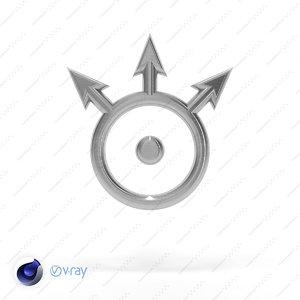 3d symbol neptune model
