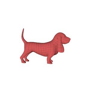 base mesh basset hound dog 3d c4d