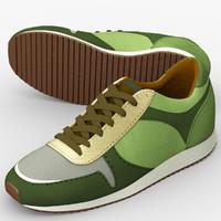 3d green running shoes model