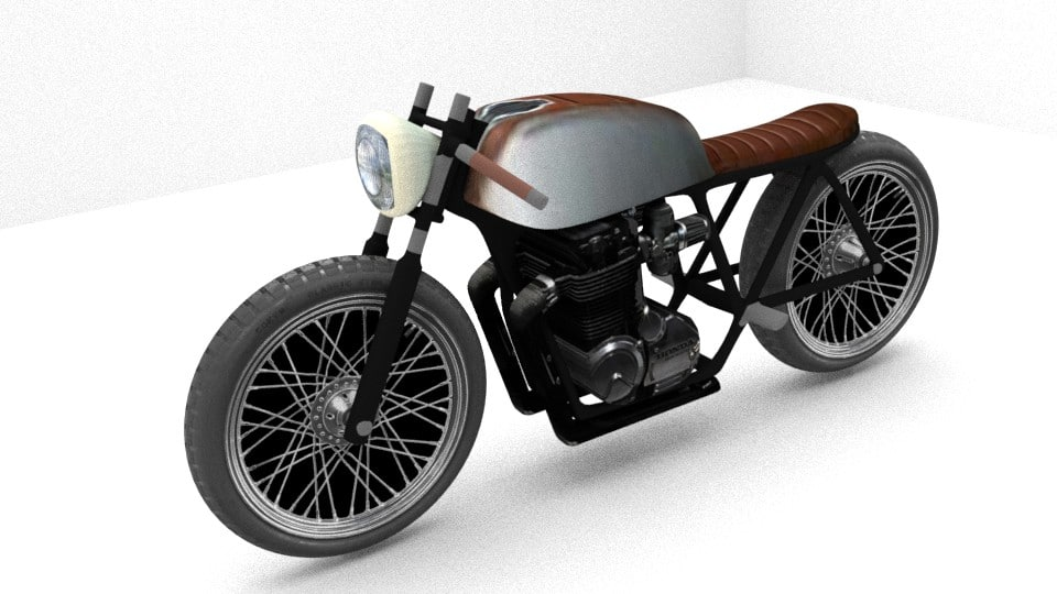 free simplified cafe racer 3d model
