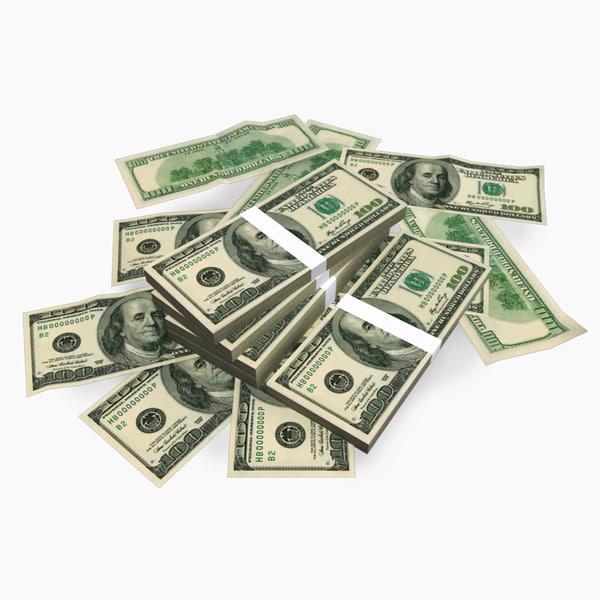 free money usd 3d model