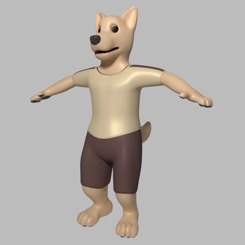cartoon wolf 3d model
