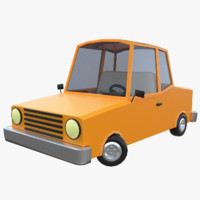 3d model cartoon car rigged