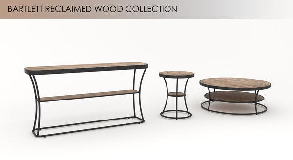 3d bartlett reclaimed wood table model