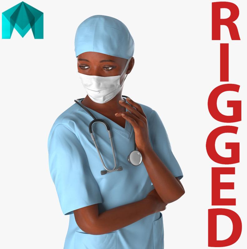 african american female surgeon 3d model