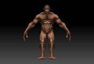 3d model monkey man monkeyman