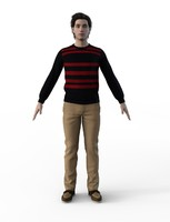 3d male casual winter model