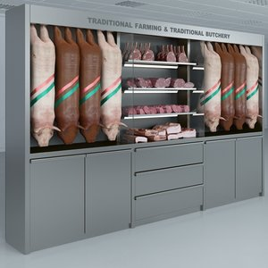 custom refrigerated showcase pork 3d max