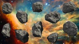 set 10 asteroids - 3ds