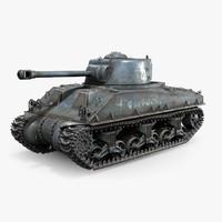 m4a3 sherman tank rigged 3d max