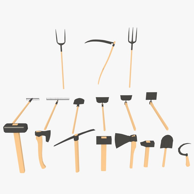 3d axe pitchfork scythe model