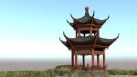 japanese ancient architecture pavilion 3d model